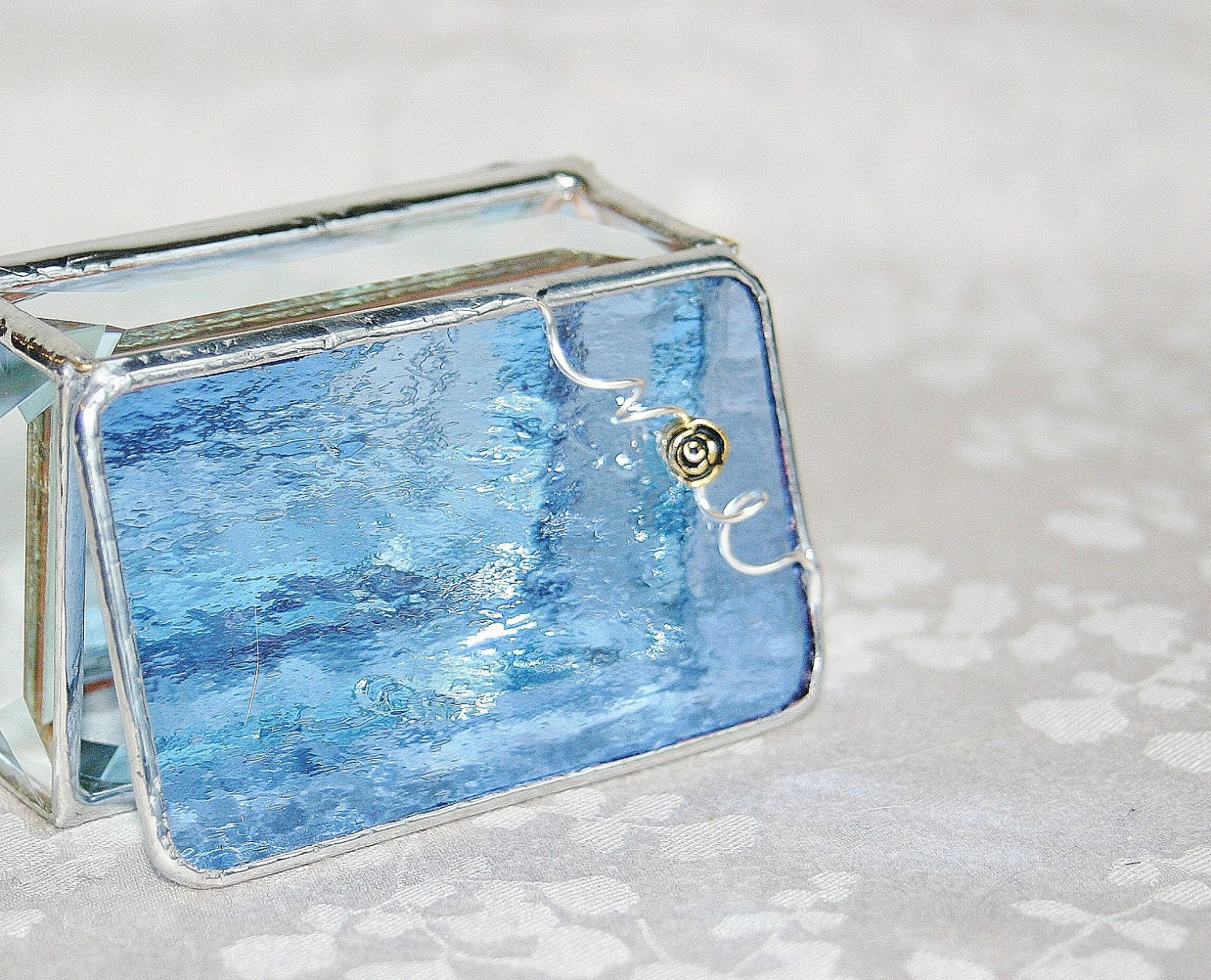 Periwinkle Blue Stained Glass Box 2x3 w/ Pewter-cast Gold Rose Flower Handmade - GaleazGlass
