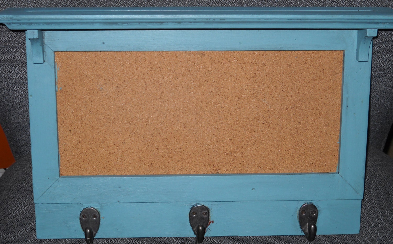 Turquoise shelf with cork board and hooks by theshabbyshaq for Cork board with hooks
