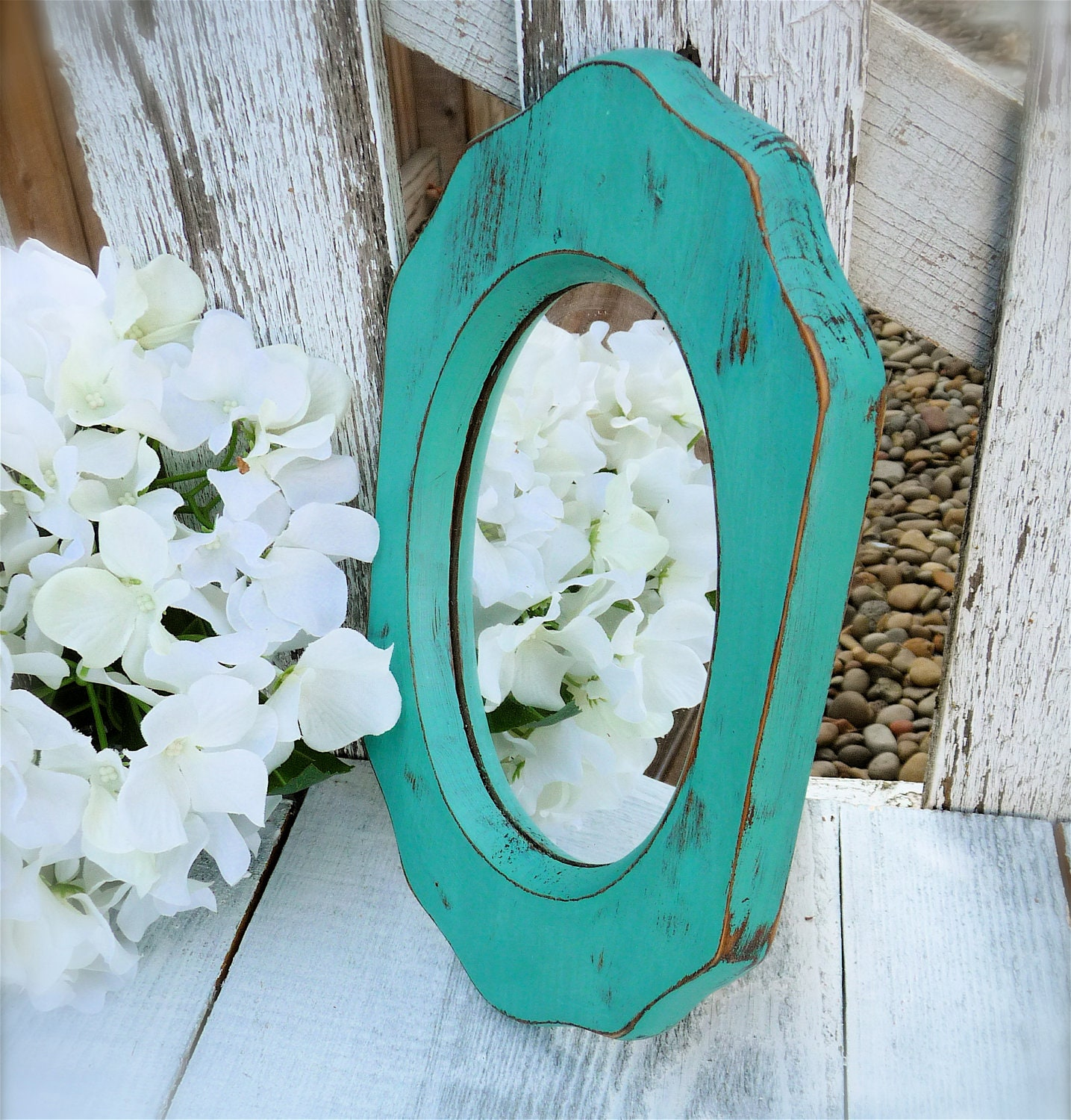 Teal shabby chic small wood mirror by huckleberryvntg on etsy - Telas shabby chic ...