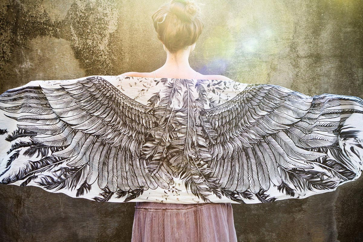 White Cotton Women scarf, Hand painted Wings and feathers, stunning unique and useful, perfect gift - Shovava