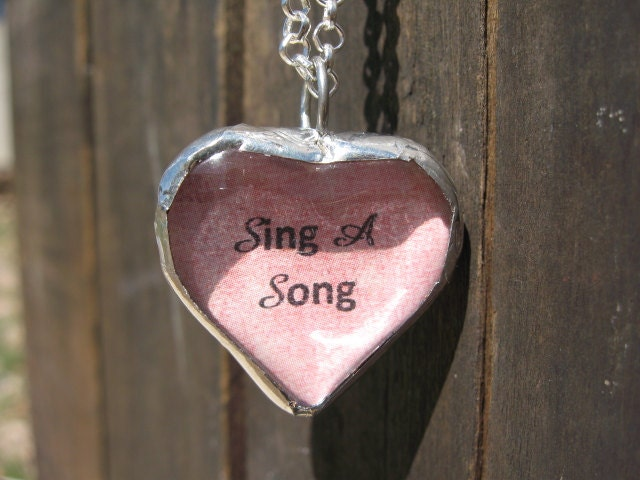 Sing A Song, Reversible Soldered Chunky Glass Heart Pendant - PetalsNMetals