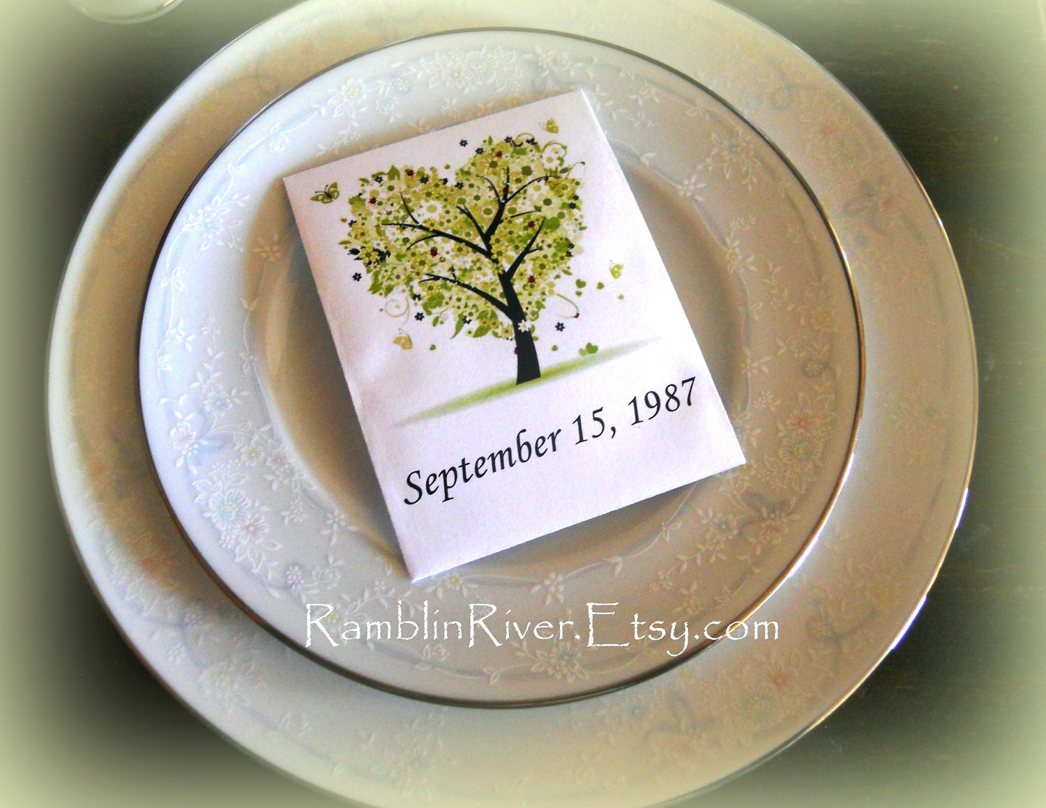 Green Tree Print Flower Seed Packet Unique Wedding By RamblinRiver