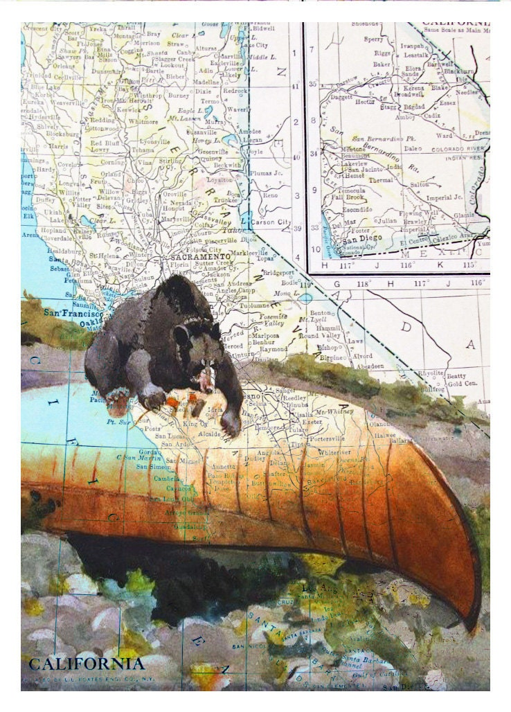 Bear Map Print - Reproduction of Vintage California MAP - Bear on Canoe Art Print - Animal Map Print, Original Mix Media - OnceTattered