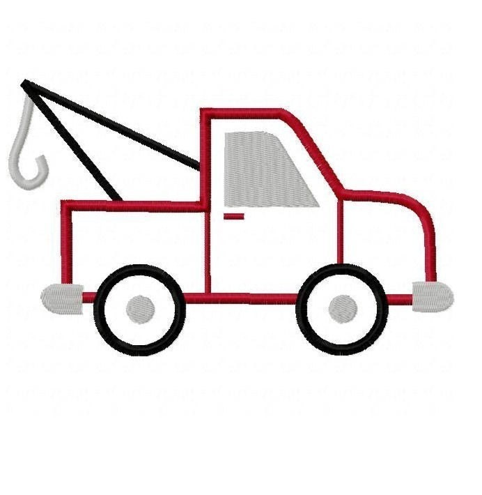 Tow truck embroidery machine applique design by