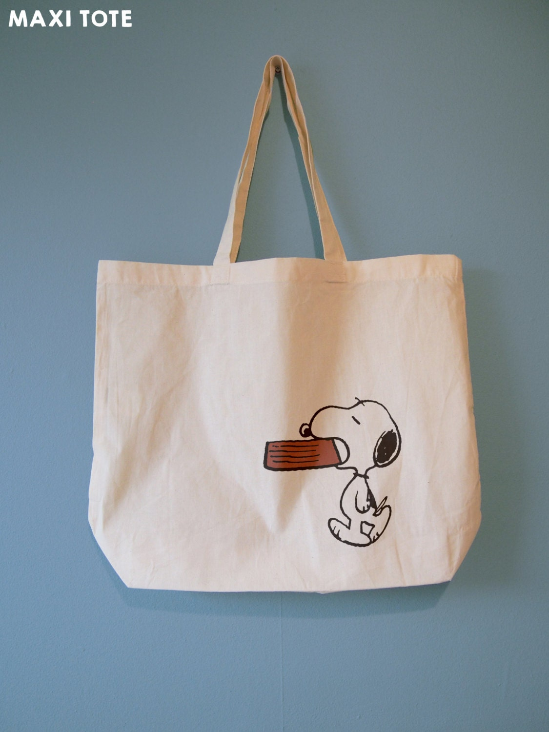 Hungry Snoopy carrying his Dog Bowl, Natural Cotton Tote Bag or Maxi Bag