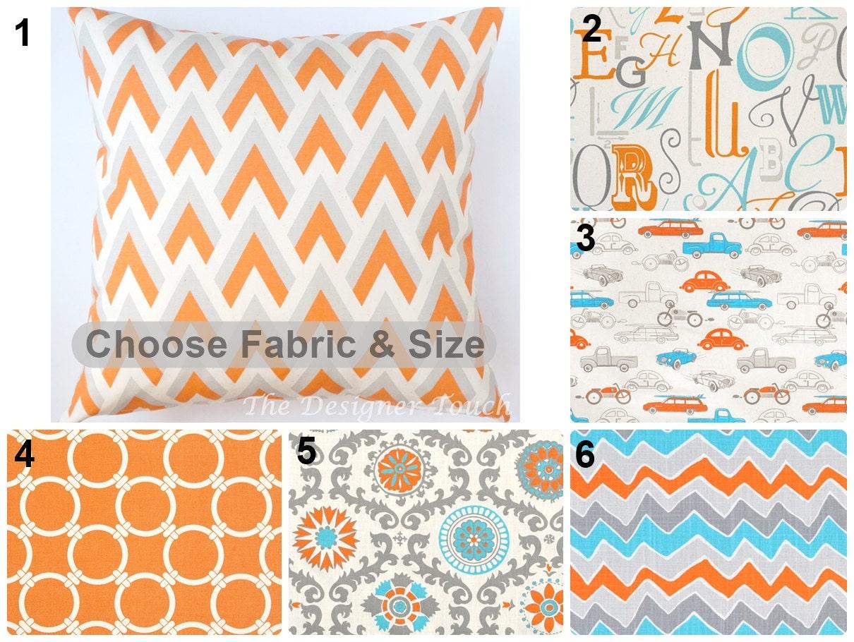 orange blue designer lumbar euro sham pillow