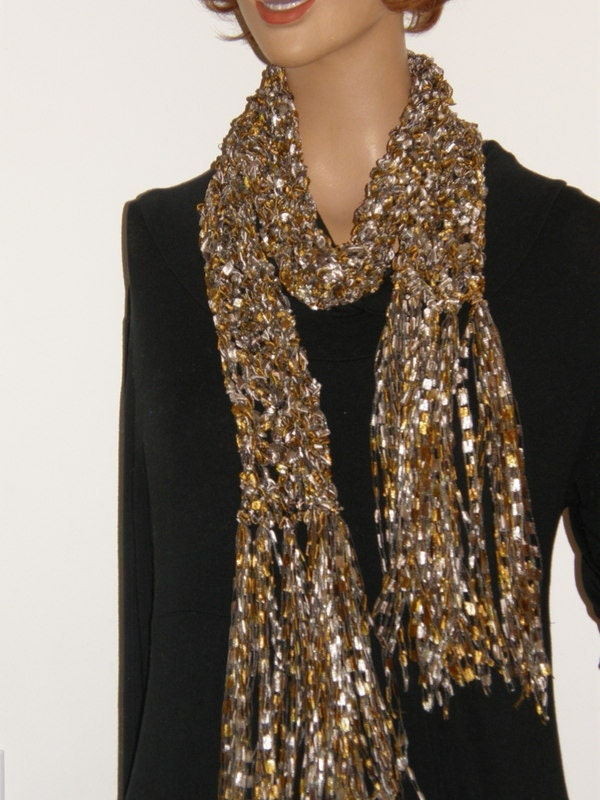 items similar to 91 fancy ribbon scarf gold chagne