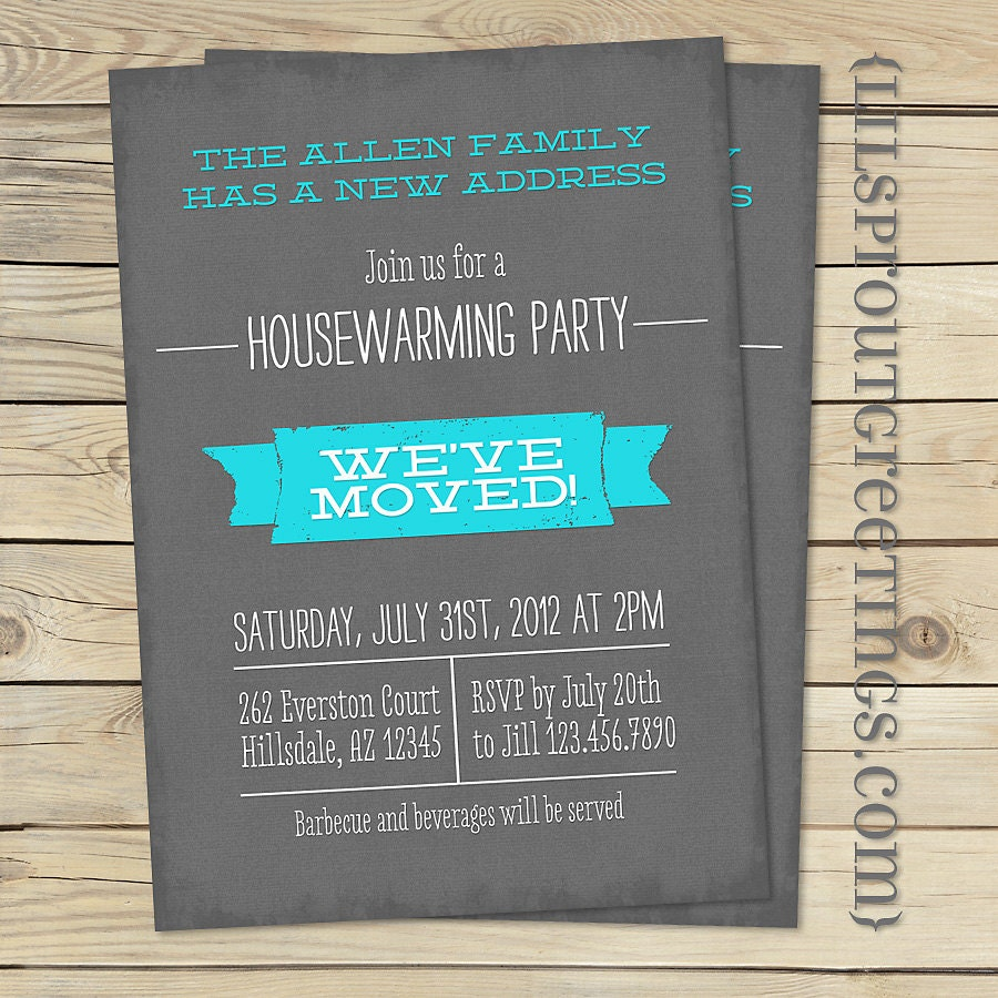 Housewarming Invitation Moving Announcement by lilsproutgreetings