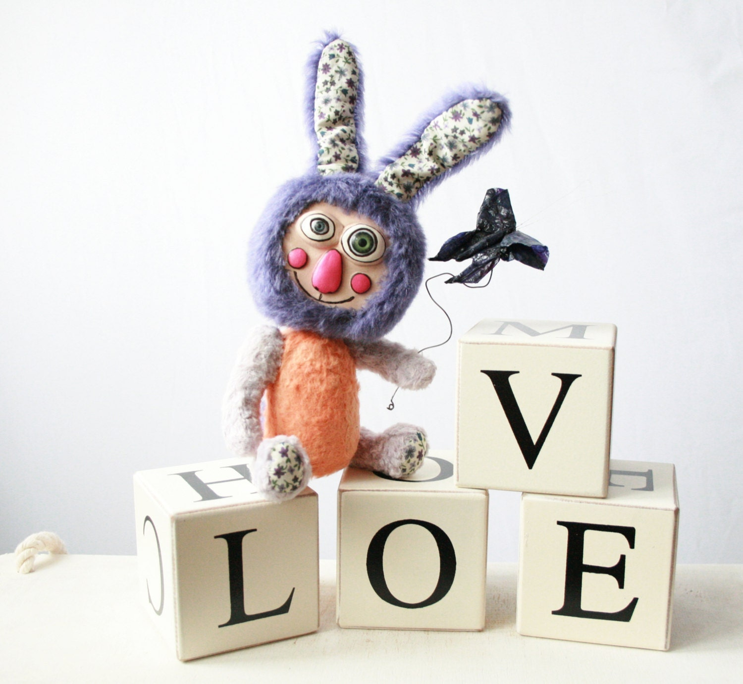 "A Jointed OOAK Rabbit ""Kite Flyer"", An Artist Rabbit, A Teddy Rabbit, A Small Artist Rabbit, Artist Toy - CreaturesPretenders"
