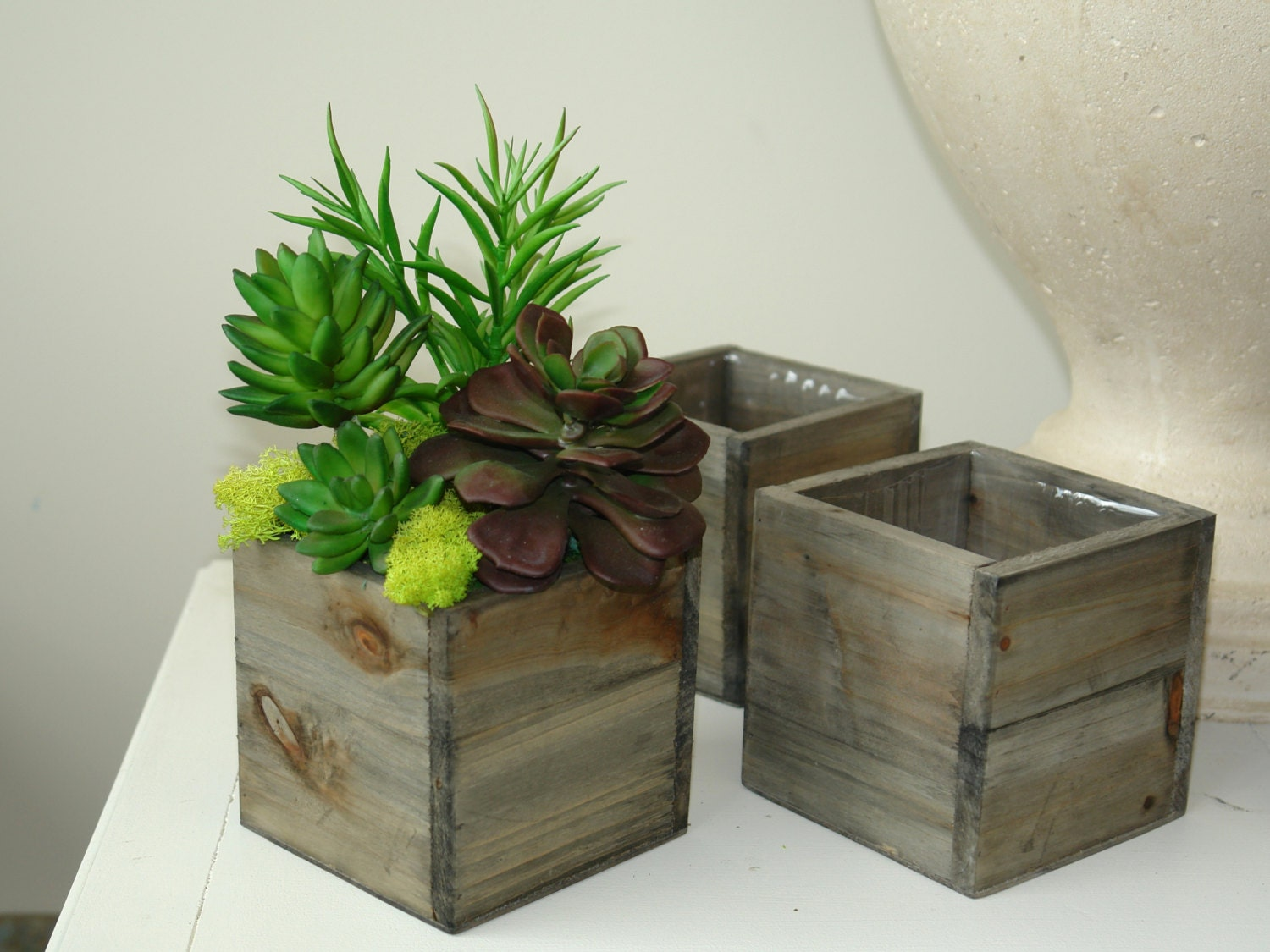 Wood box boxes square vase succulents by aniamelisa