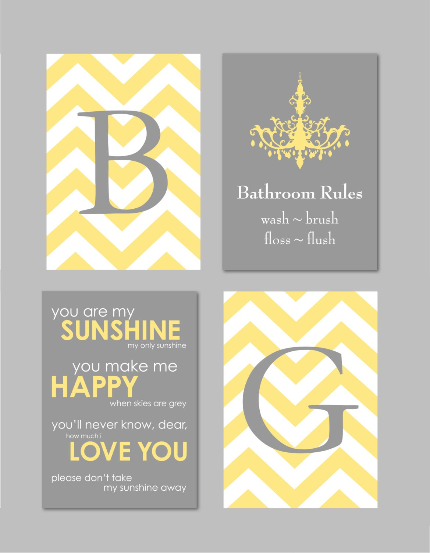 Yellow and gray bathroom art home decor prints you by for Yellow and gray bathroom decor
