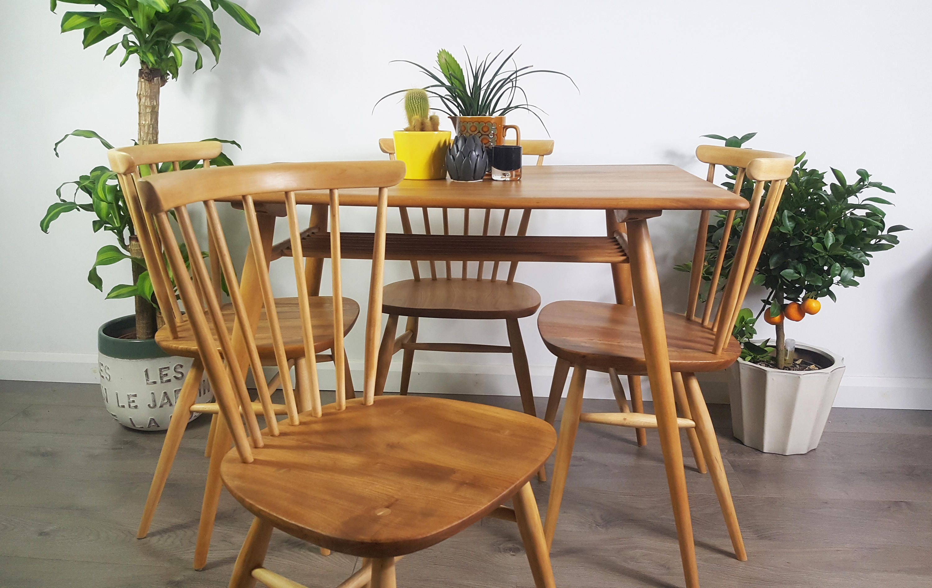Ercol Table and Chairs Breakfast Table Retro Vintage 50s 60s 70s Refinished
