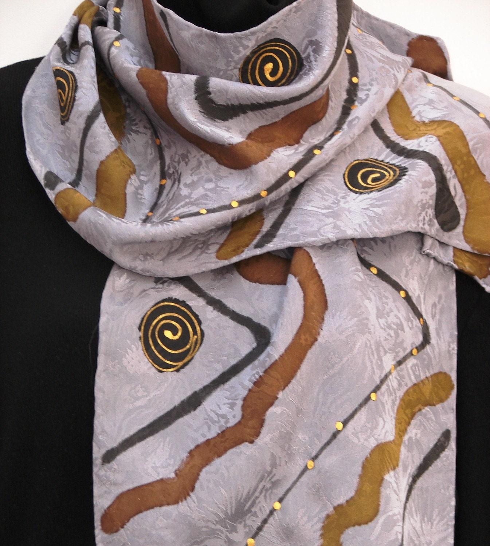 silver zigag silk scarf - owenart