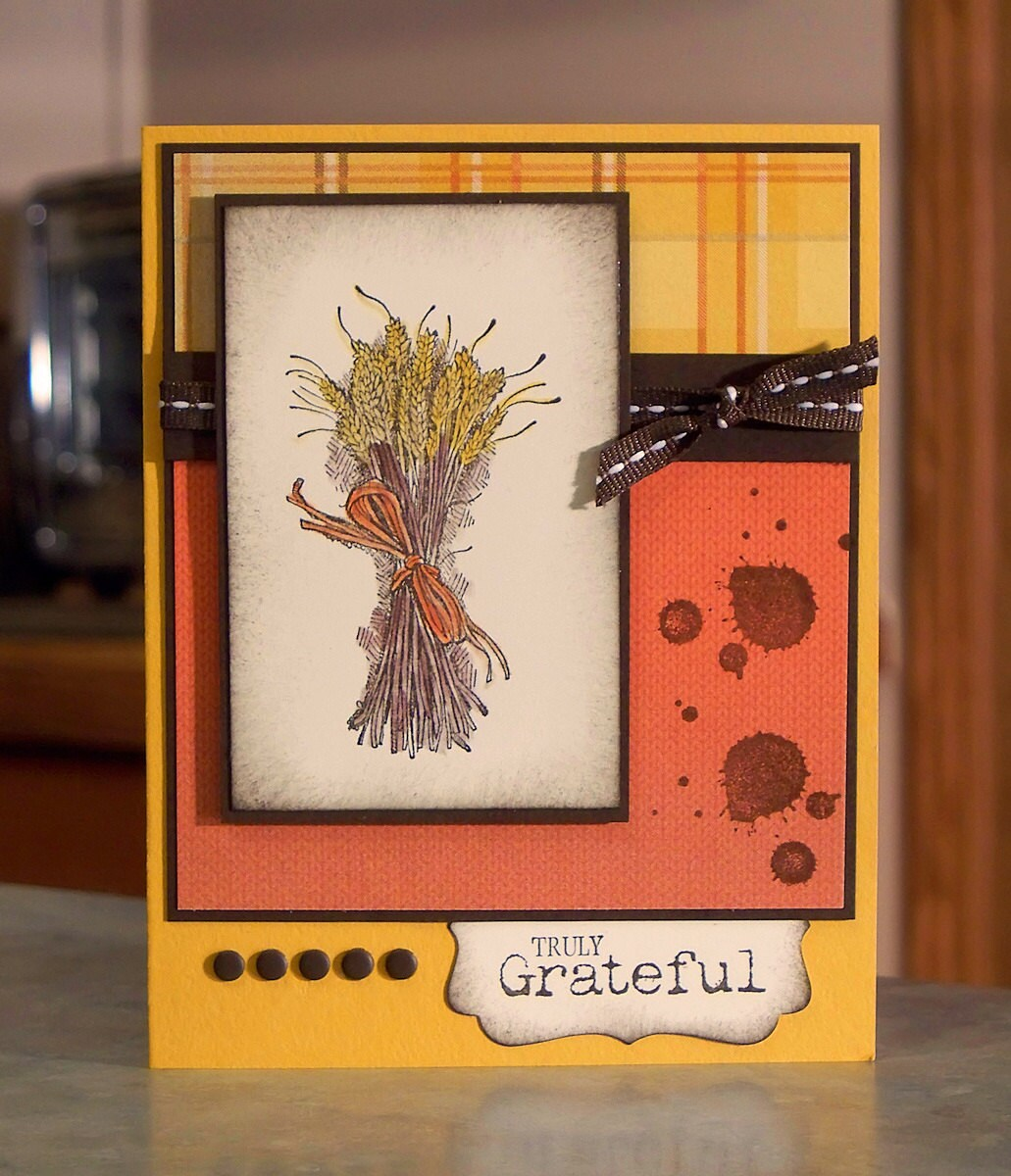 Thanksgiving card stampin up truly grateful by whimsyartcards