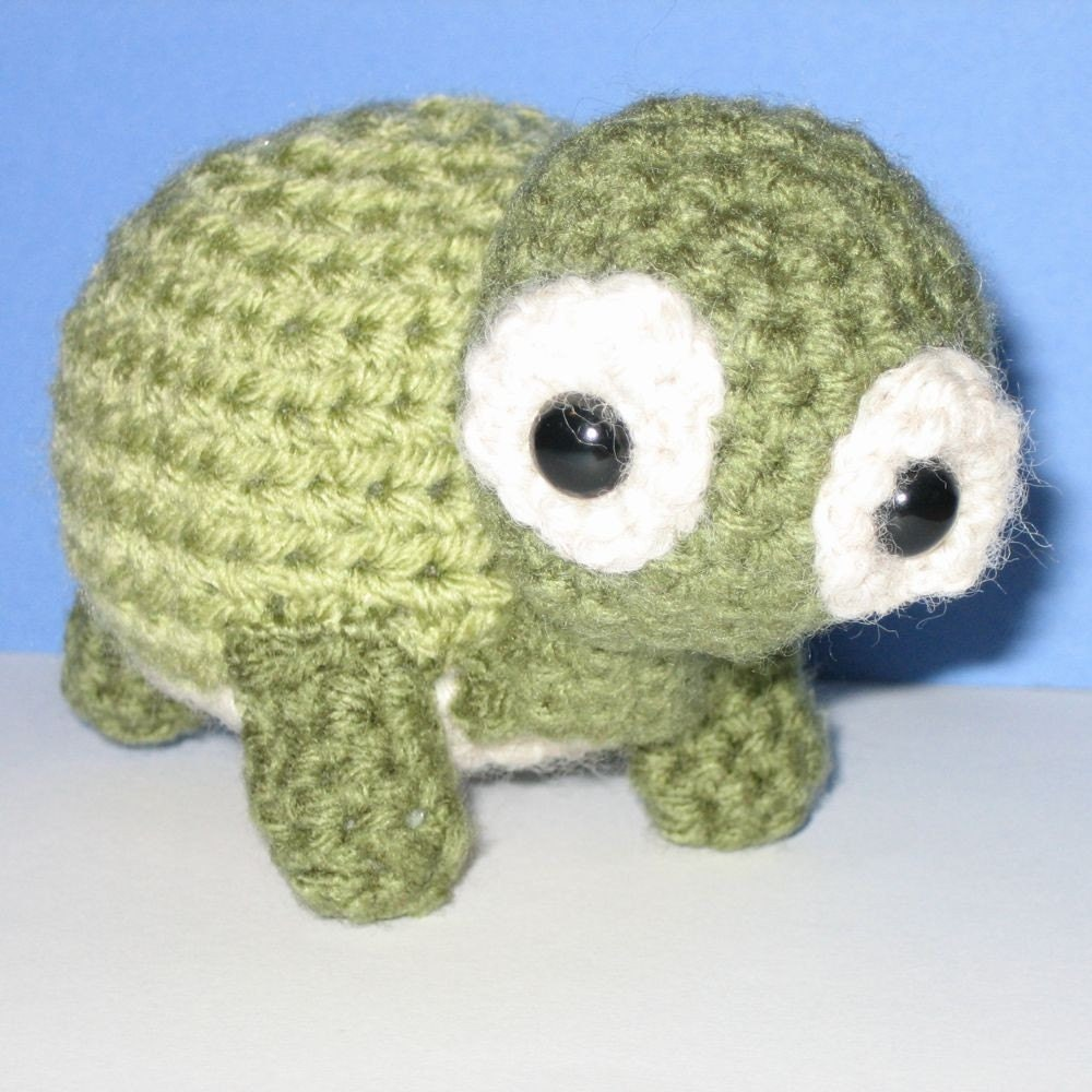 Amigurumi Stuffed Animals : Turtle amigurumi hand crochet stuffed animal by onehappyhuman