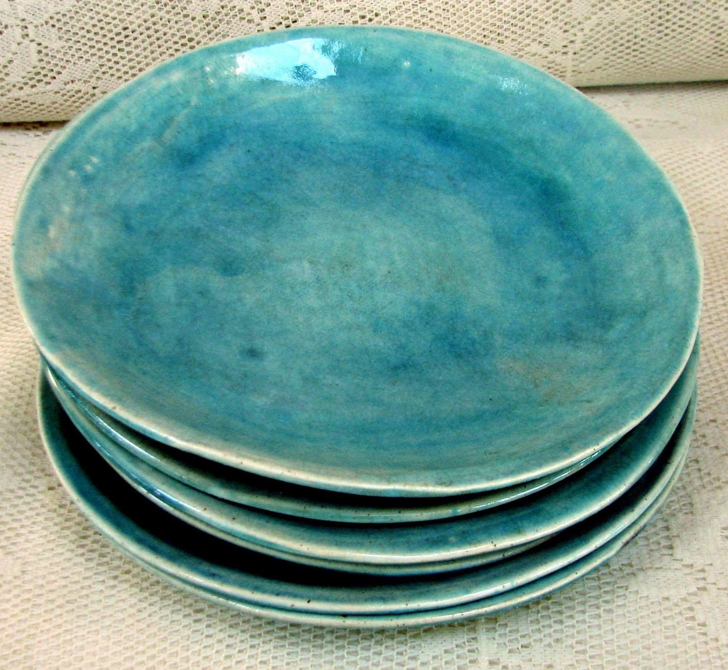 Hand Made Side Salad Plates Stoneware By Lesliefreemandesigns