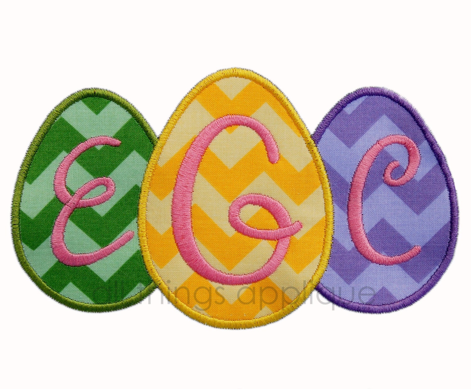 Egg trio applique design easter by allthingsapplique