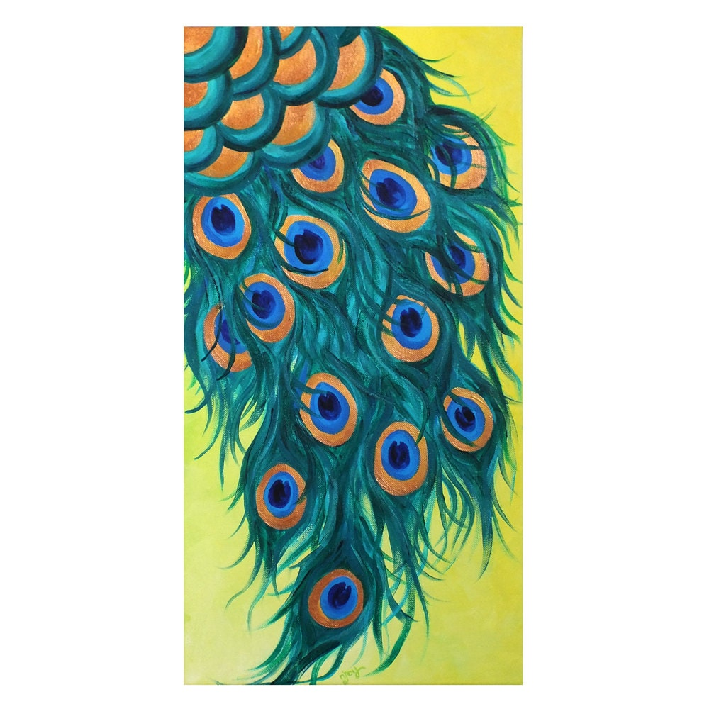 Single peacock feather painting for Painting feathers on canvas