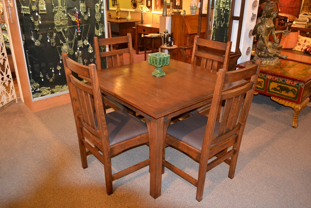Mission Oak Dining Table Kitchen Table with 4 by  : il570xN416842777huoq from www.etsy.com size 570 x 380 jpeg 80kB