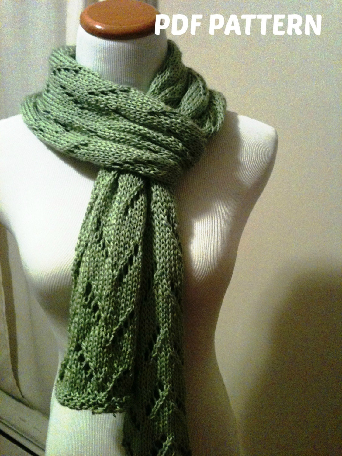 Simple Lace Knitting Pattern For Scarf : Items similar to KNITTING PATTERN - Easy Lace Scarf - PDF File- Download Inst...