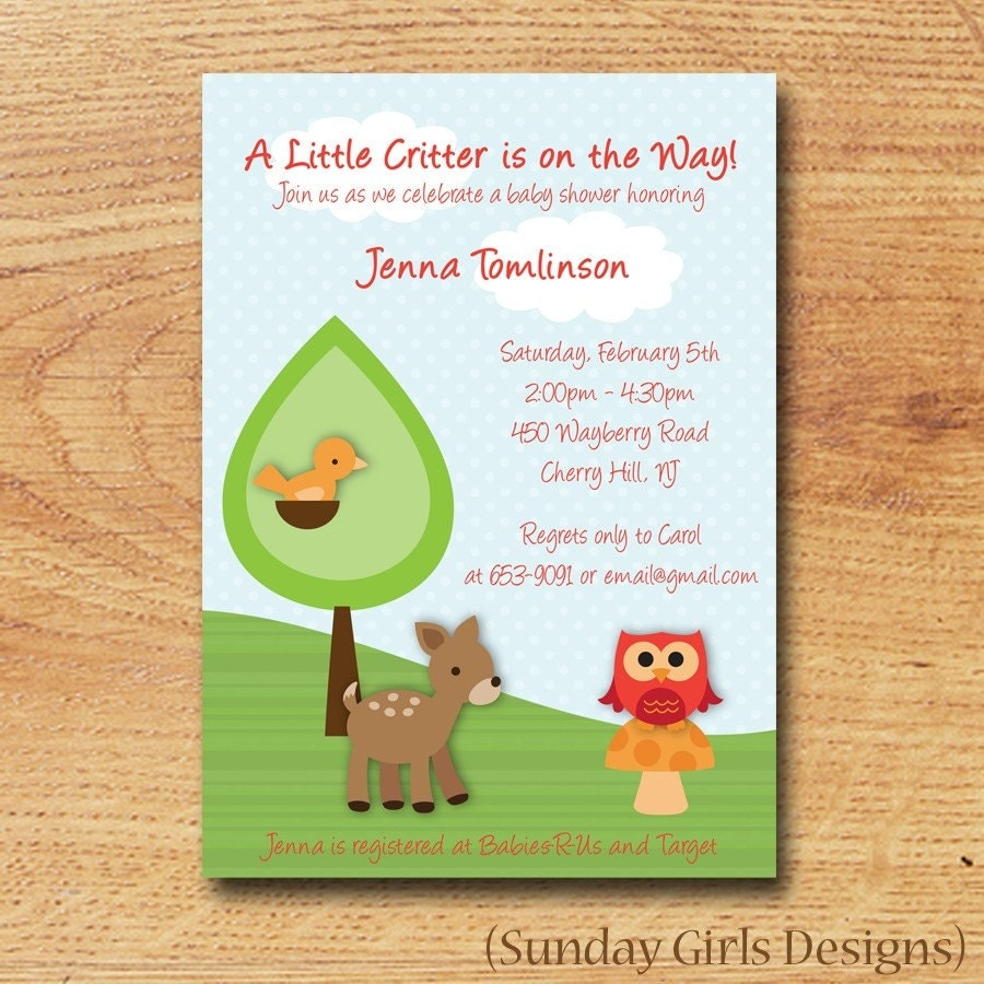 woodland critters baby shower invitation by sundaygirlsdesigns