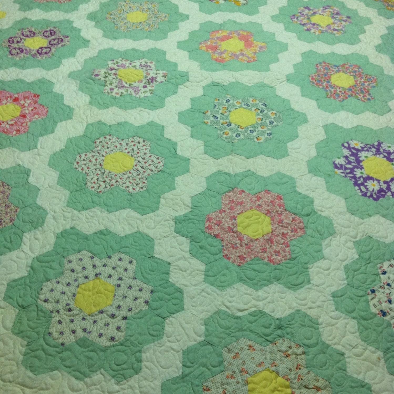 Vintage grandmother 39 s flower garden quilt by fadedwallpaper - Grandmother s flower garden quilt ...
