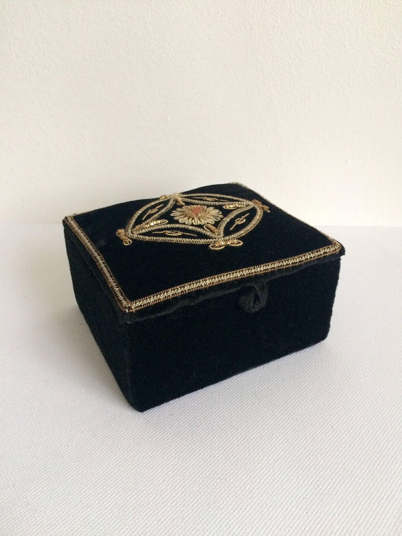 Vintage Black Velvet Embroidered Jewellery Box Velvet Trinket Box