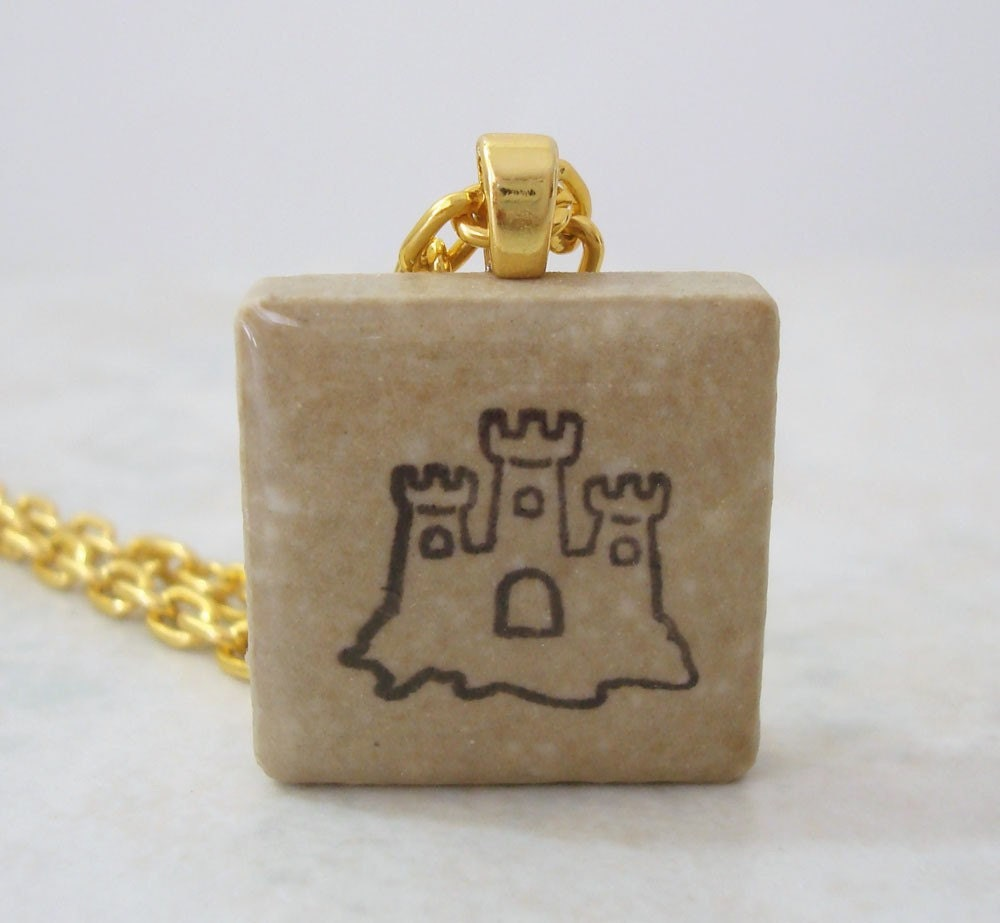 Sandcastle Necklace Rubber Stamped Recycled Ceramic Tile Pendant - OohLookItsARabbit