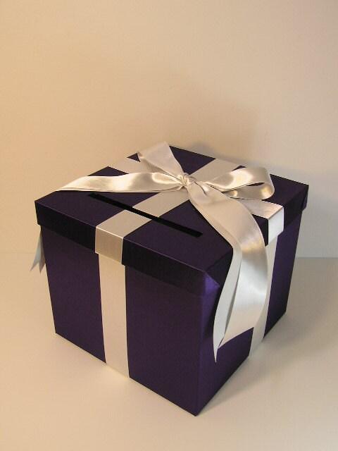 Purple Wedding Gift Card Box : Purple and Silver Wedding Card Box Gift Card Box Money Box Holder ...