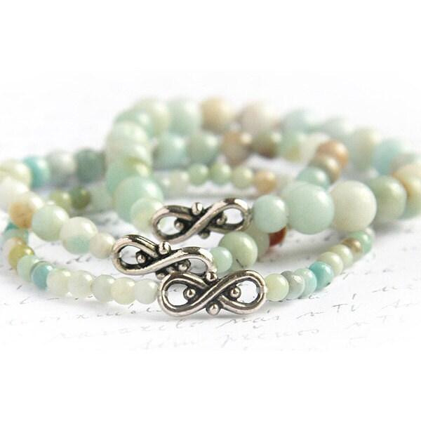 Light Blue Amazonite Stone Bracelets. Mint Stackable Bracelet Set of 3. Infinity Bracelet. Tribal Inspired. Natural Stone Bracelet HIP