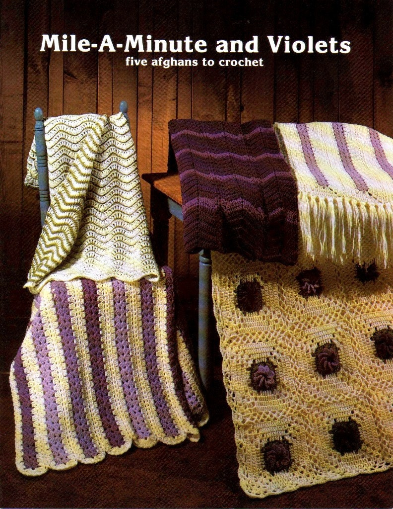 PDF PATTERN Mile-A-Minute & Violets - Afghans to Crochet Pattern Leaflet - JAO Enterprises - 5 Fabulous Designs - Free Shipping
