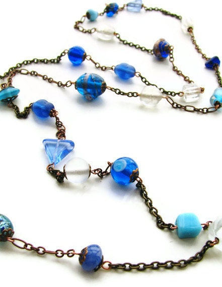 "Blue Beaded Necklace Antique Copper and Brass Glass Beaded 42"" Necklace - heversonart"