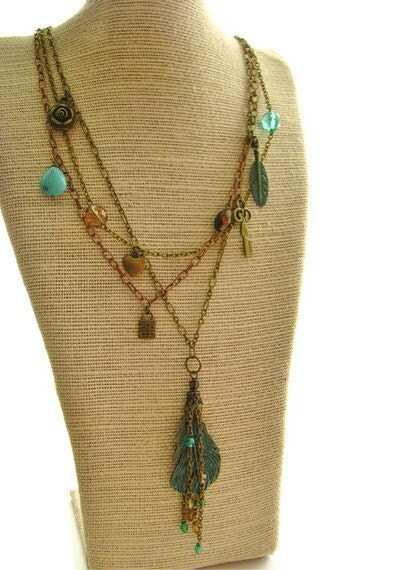 Gypsy Feather Multi-Strand Necklace With Bohemian Style Charms, Turquoise Magnseite and Vertigris Patina, Long 26 Inch - heversonart