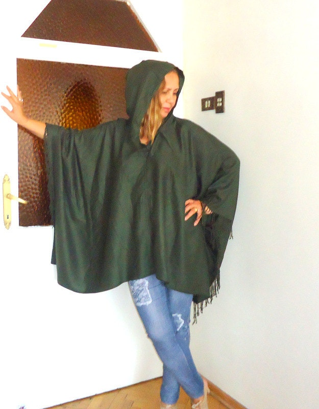 Cotton Poncho ,Outerwear-3X Clothing Camouflage green,Fringe Boho Kimono Shrug/Caftan/Scarf in One,caftan hippie dress . - angelofanatolia