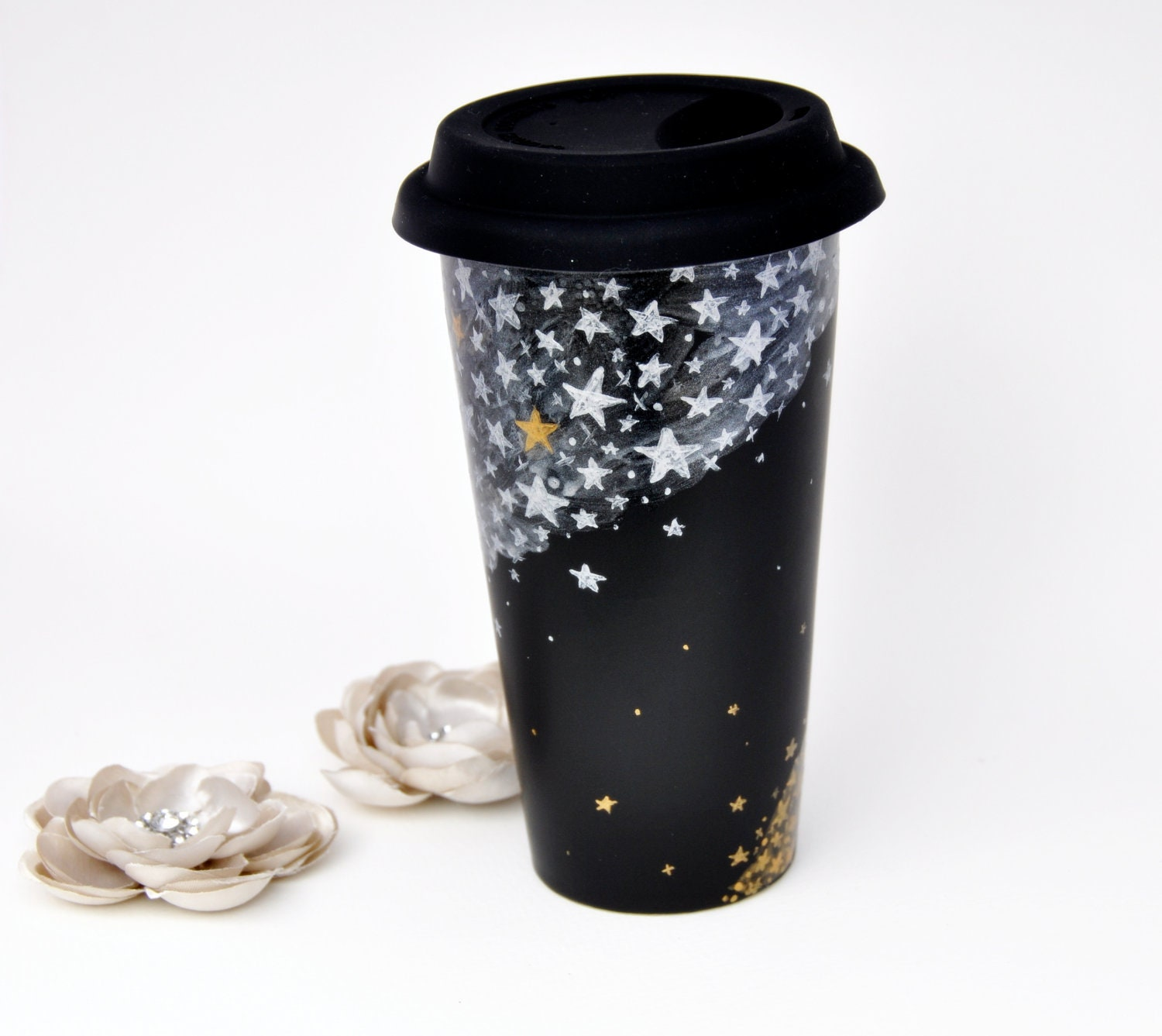 Black Ceramic Travel Mug - Made to Order - Hand Painted Silver and Gold Stars Chalkboard Eco Cup - Silicon Lid