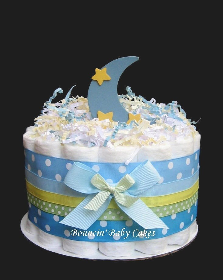 to 1 tier moon and stars baby shower diaper cake centerpiece on etsy