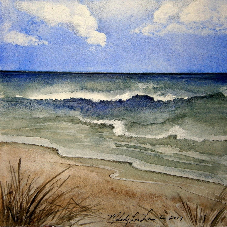 ocean beach scene 16 x 16 framed original art by by melodylealamb. Black Bedroom Furniture Sets. Home Design Ideas