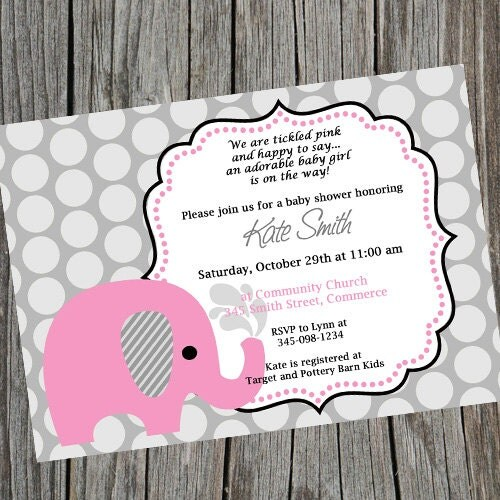 pink elephant baby shower invitation customized shower invitation