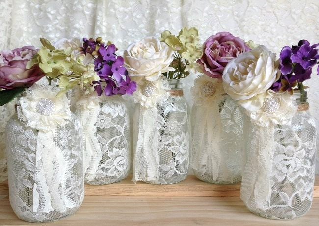5 Ivory Lace Covered Jar Perfect For Wedding By PinKyJubb