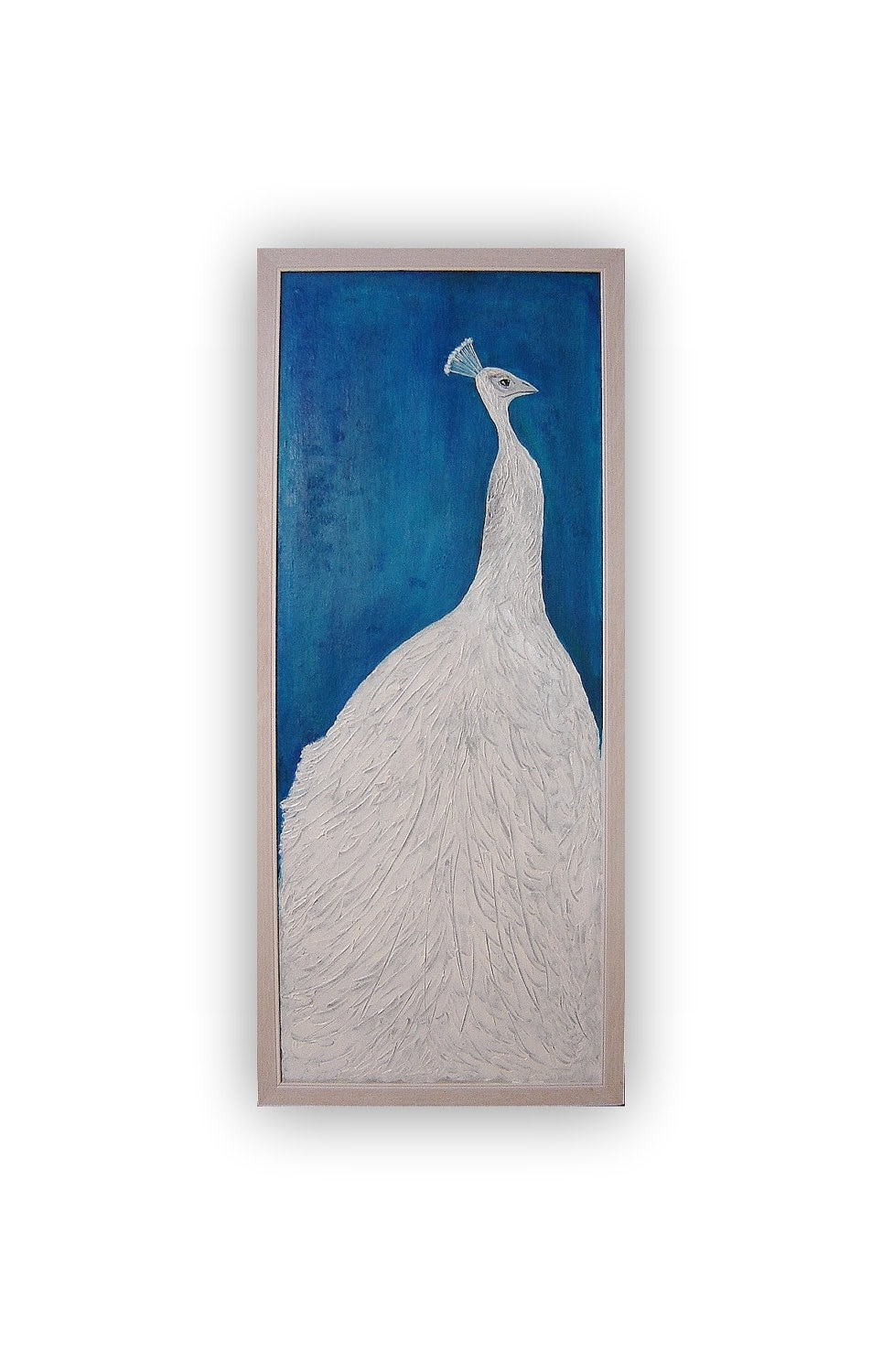 White peacock. Original acrylic painting. Canvas. Framed. Textured painting. Modern Contemporary Art. - almondtreeart