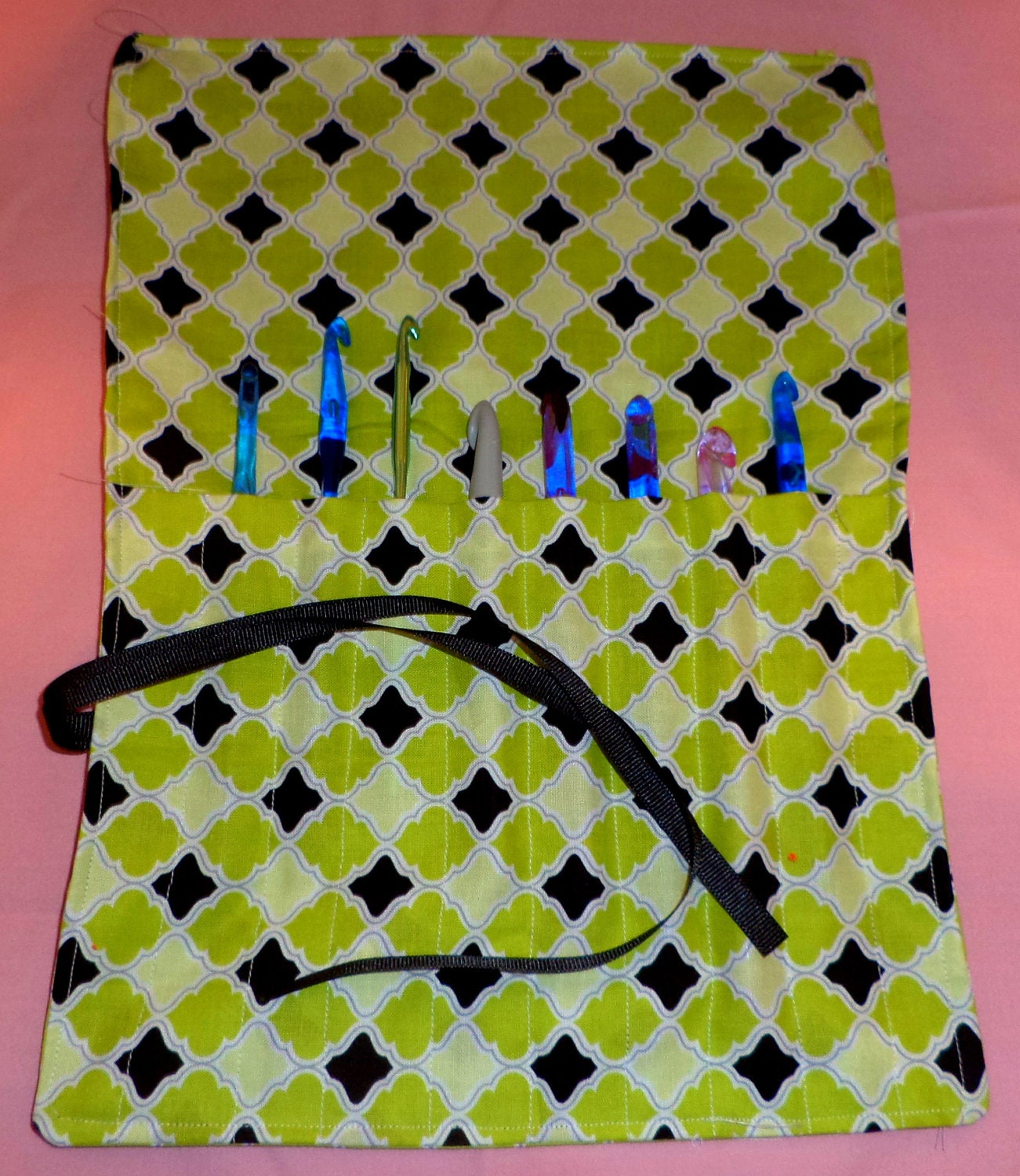 Crochet  Hook  Case. Roll up Lime Green and Black with black ribbon