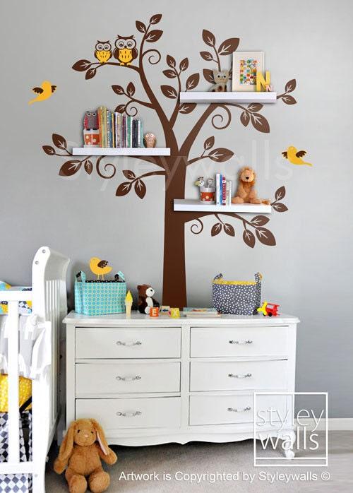 shelf tree wall decal nursery children wall decal by