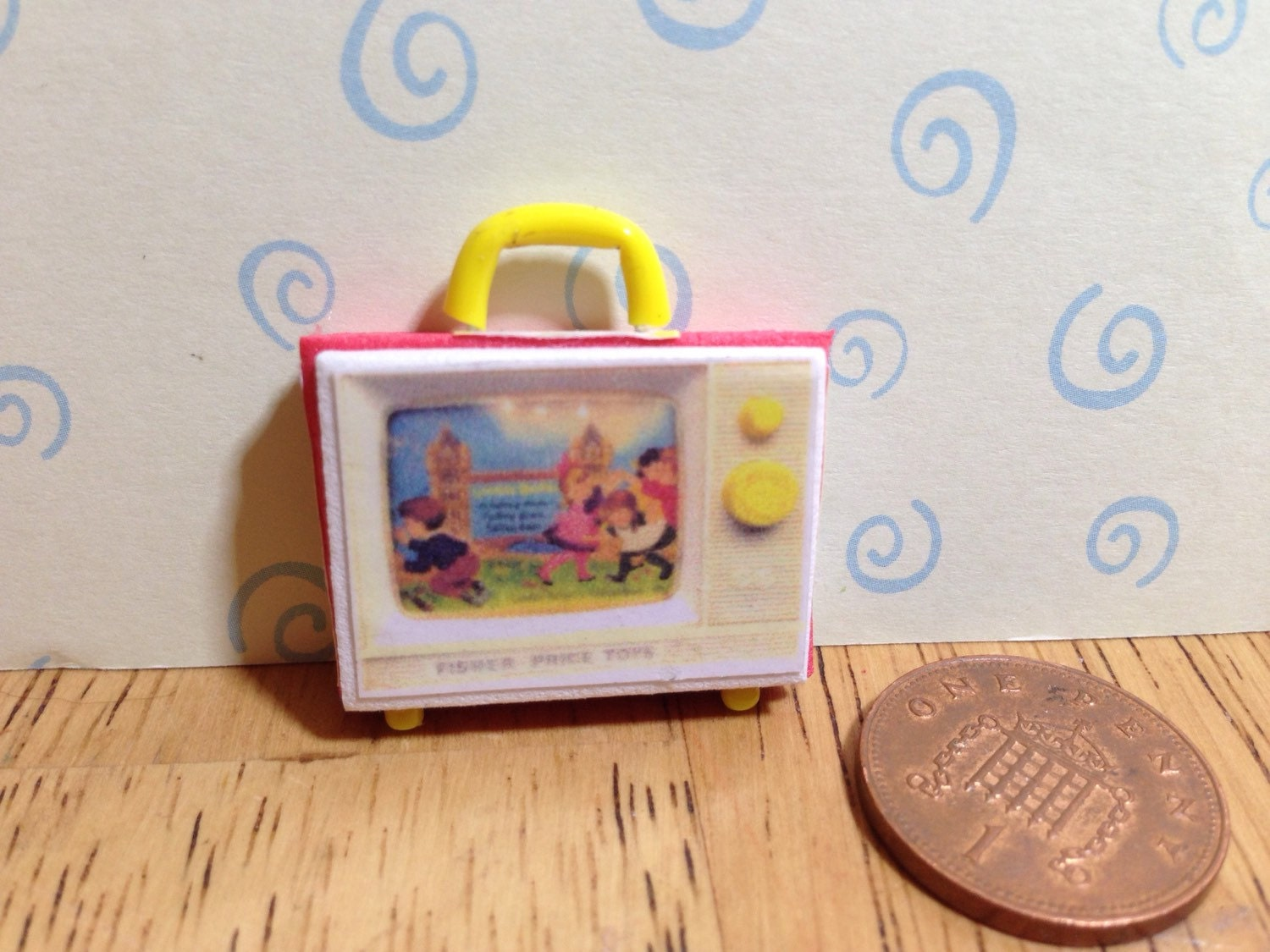 Hand made Dolls house Miniature replica vintage fisher price two tune tv 112 scale