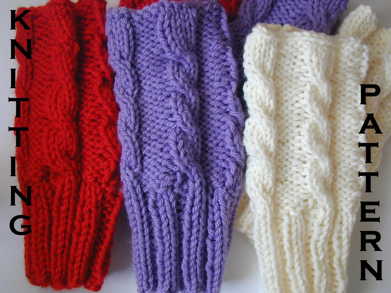 Items similar to PDF Easy Knitted Cable Fingerless Gloves ...