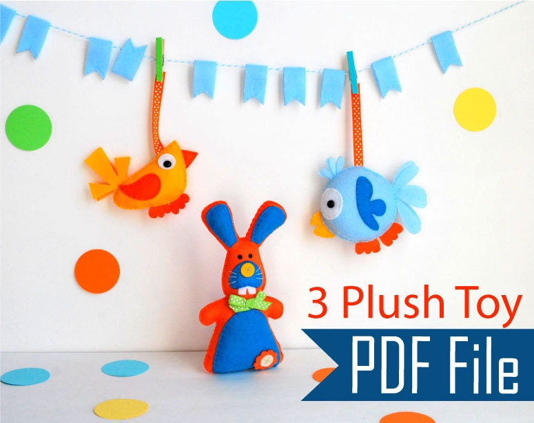 Sewing Pattern Pack : 3 plush toy Pack - Cute Bunny - Modern Bird - Round Funny Bird - Spring Toy Collection PDF A503