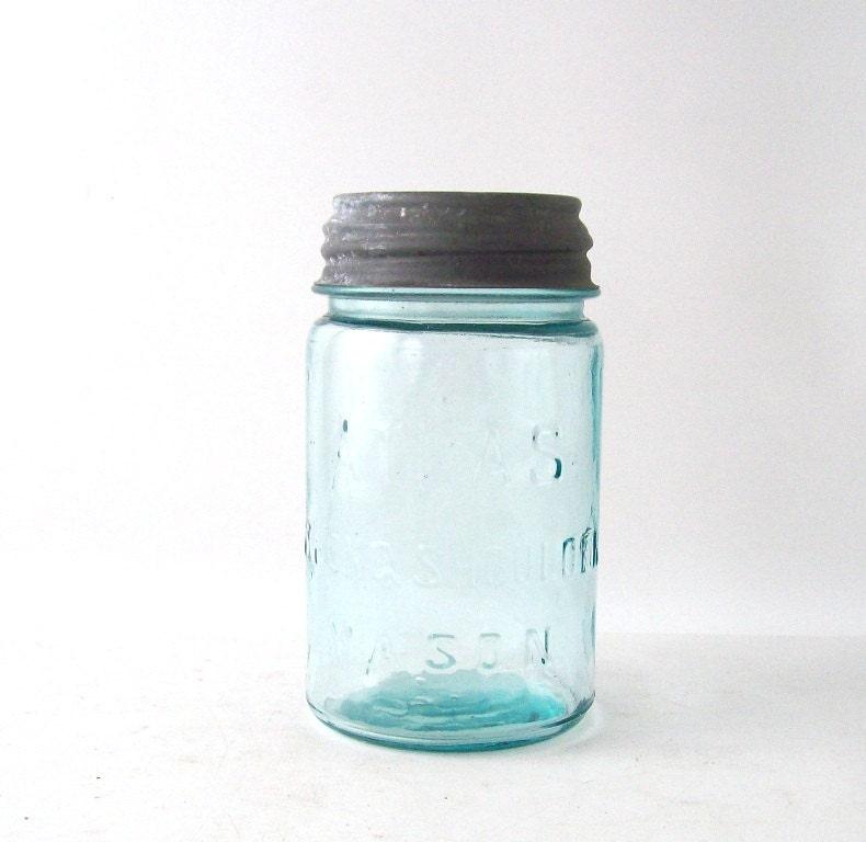 vintage blue atlas mason jar strong shoulder zinc lid pint decorative home decor retro mid century antique old - RecycleBuyVintage