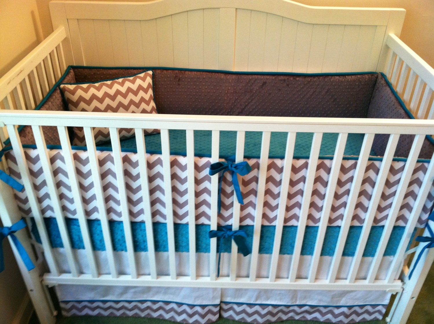 chevron custom crib bedding by butterbeansboutique on etsy