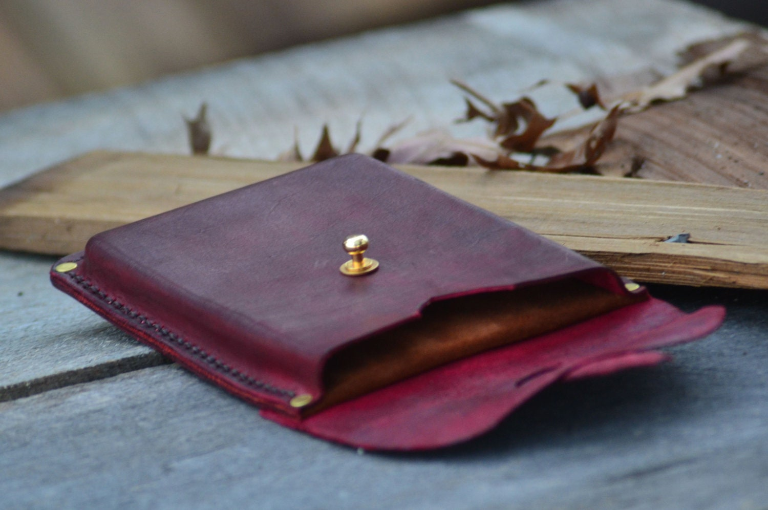 Handmade Kindle Fire Case in Merlot Red - Rivetandleatherco