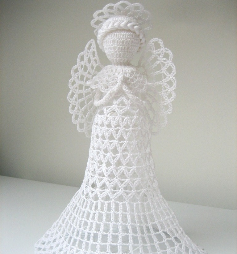 Crochet Angel : White tall crochet angel Angel decoration Christmas by linzes