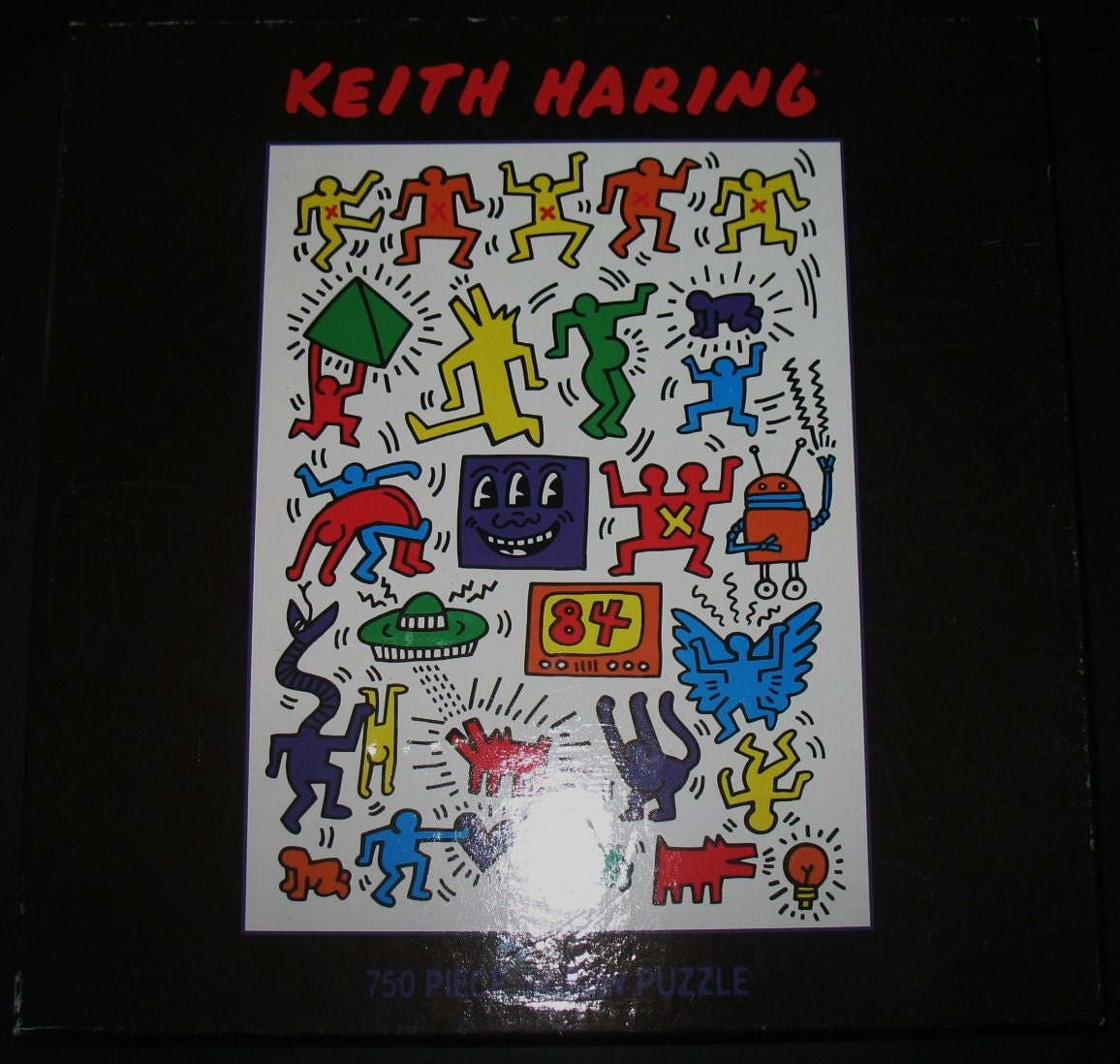 Keith Haring Pop Artist Sealed 750 Piece Jigsaw Puzzle From a 1983 Exhibition Poster